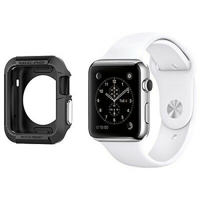 Apple Watch Case 42mm Armor Cover BLACK 2 x Screen Protectors Smartwatch