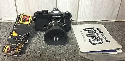 Vintage Nikkormat FT3 SLR Camera with Manual & Nikon/Nikkor 50mm 1:2 Lens -NR