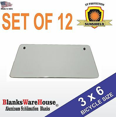 "3"" x 6"" Bicycle License Plate Blanks -Dye Sublimation, Printing, Blanks 12 piece"