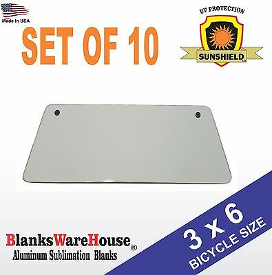 """3"""" x 6"""" Bicycle License Plate Blanks -Dye Sublimation, Printing, Blanks 10 piece"""