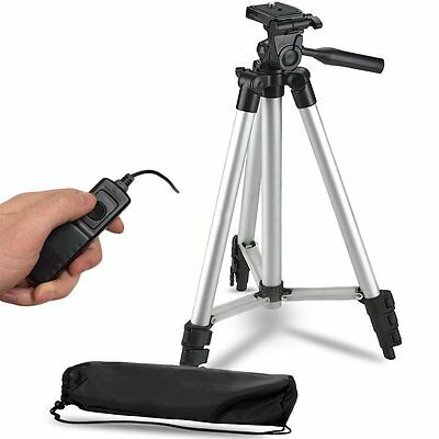 "50"" Lightweight Aluminum Tripod + Remote Switch f Canon Rebel T6 w/ 18-55mm Lens"