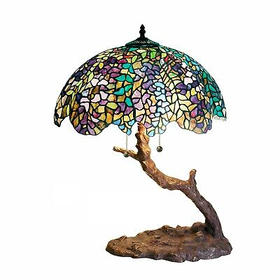 Beautiful 25 Handcrafted Tiffany style Table Tree Lamp with Hand Cut Glass New
