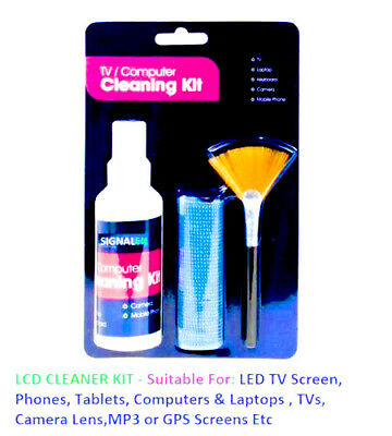 Labtop Screen TV LCD LED PC Monitor Cleaner - Cleaning Kit With Microfibre Cloth