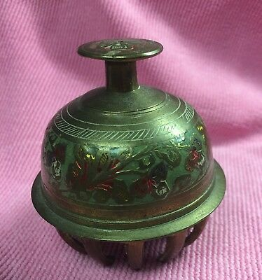 Vintage Elephant Claw Brass Bell With Paint