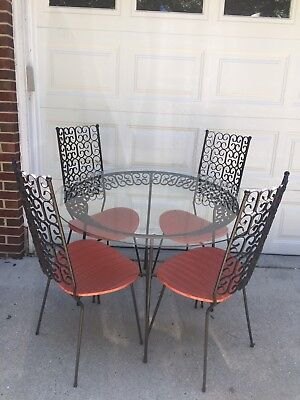 Mid Century Umanoff Grenada Table Chairs Iron Patio Kitchen Dining Set High Back