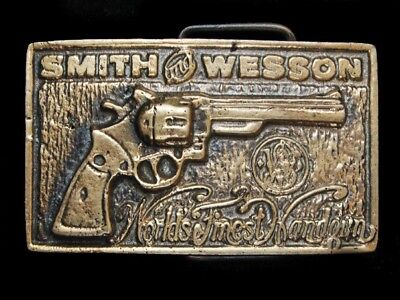 NF09160 *NOS* VINTAGE 1970s **SMITH AND WESSON** GUN SOLID BRASS BARON BUCKLE