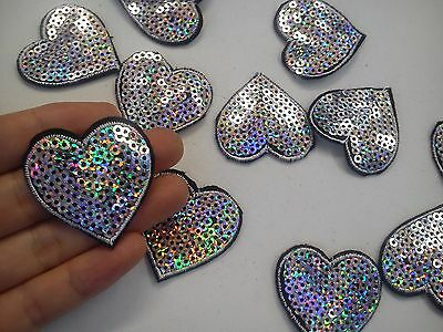 3 silver heart patches sequin patch applique iron on sew motif badge sewing UK