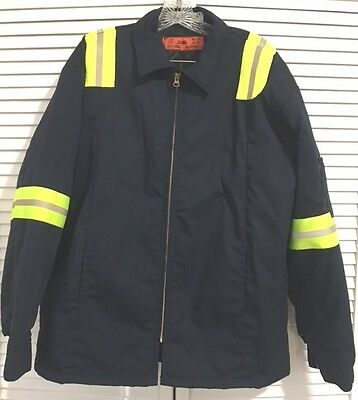 Cintas Navy Blue Work Jacket w/ Quilted Lining & Reflective Trim