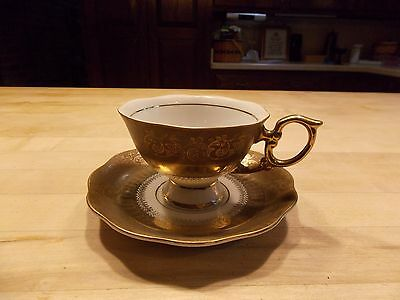 Vintage Porcelain Footed Tea Cup And Saucer French? Unmarked Gorgeous
