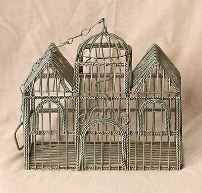 "Vintage Decorative House Shape Small Green Wire Bird Cage   Size:9 1/2"" T & W"