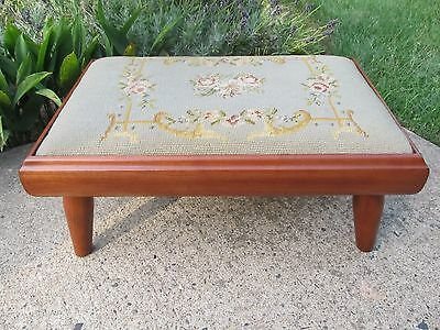 Antique Cherry Footstool with Needlepoint Restored