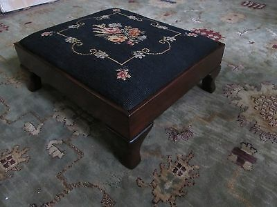 Vintage Needlepoint Floral Olgee Rectangle Mahogany Footstool Restored