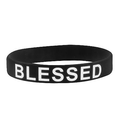 Blessed Wristband Black & White Rubber Silicone Bracelet Live For Jesus