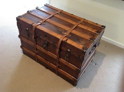 Antique Travel Trunk Timber Sea Chest Fully Restored With Key