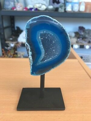 Amazing High Quality Blue Agate Geode With Druze On Stand From Brazil (#0387)