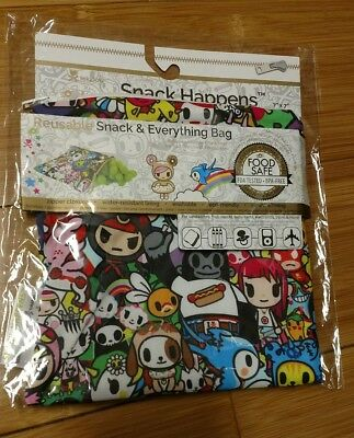 "Tokidoki x Itzy Ritzy Snack Happens Reusable Snack Bag 1 Pack 7"" x 7"" New"