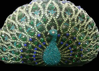 New Multi Color Crystal Peacock Hard Shell Clutch Bag