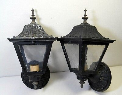 2 Vintage Porch Lights Entry Lamps Wall Sconce Fixture Cast Aluminum Metal