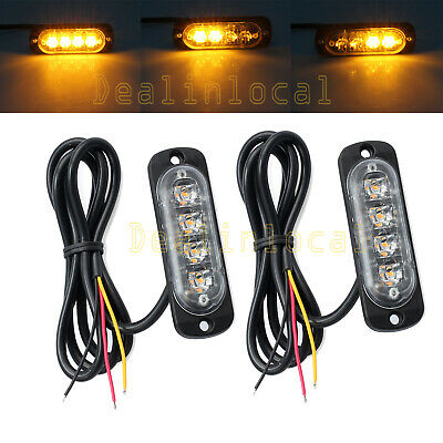 2x AMBER RECOVERY STROBE 4 CREE LED LIGHT ORANGE GRILL BREAKDOWN FLASHING AU