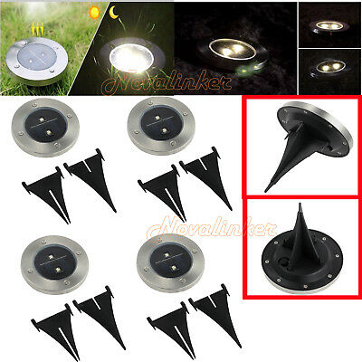 4pcs Solar Powered LED Buried Inground Recessed Lights Garden Outdoor Deck Path