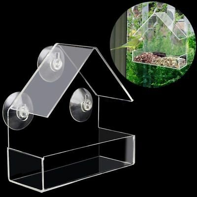 New Clear House Window Bird Feeder Birdhouse With Suction Outdoor Garden Feeding