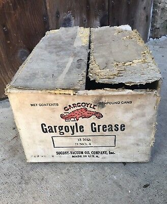 Socony Vacuum Oil Company Gargoyle 5 Pound Grease Cans Old Advertising Box