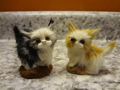 "Vintage Miniatures Cat Kitten Real Rabbit Fur Figure 2"" Tall Very Cute"