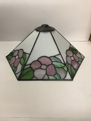 Vintage NOS Hanging Swag Slag Stained Glass Lamp Light Floral Six Sides