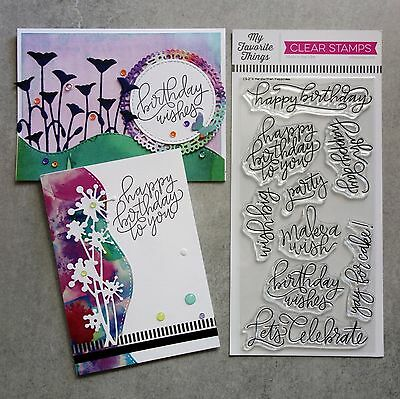 My Favorite Things Handwritten Happiness Sentiments Birthday Clear Stamps - Bnip