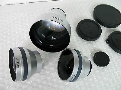 Lot of 3 Used Sony Tele Conversion Lenses VCL-ST30 /  VCL-HG2030 / VCL--HG0730