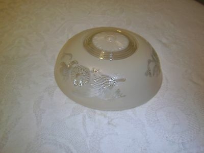 Antique light fixture glass shade Cream or Tan 3 hole mounted type