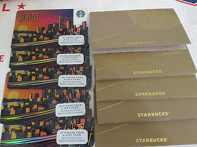 LOT OF 5 NEW 2017 Starbucks Seattle Gift Card+ SLEEVES