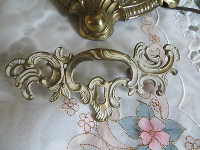 Vintage Ornate Gold White Metal Drawer Pull With Key Hole