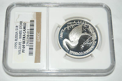 1995 Russia S1R WHITE STORK NGC PF69 silver coin rouble wildlife redbook