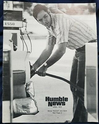 HUMBLE OIL 1972 Magazine, vintage oil and gas advertising 28 page, B&W