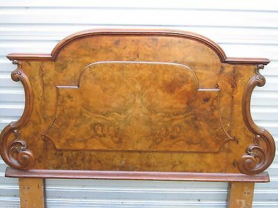 Antique Carved Burr Walnut Double / Queen Bed Head