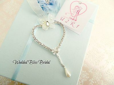Wedding  Bridal Charm - Diamante Heart - Horseshoe Alternative  Keepsake Pouch