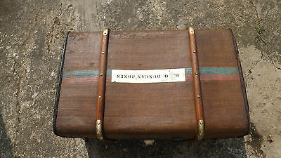 Wood Bound Canvas Steamer Travel Trunk Old Luggage Suitcase