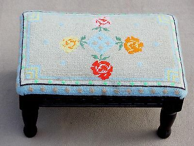 Antique Hand Crafted Ottoman Chair Footstool Floral Needlepoint Embroidery
