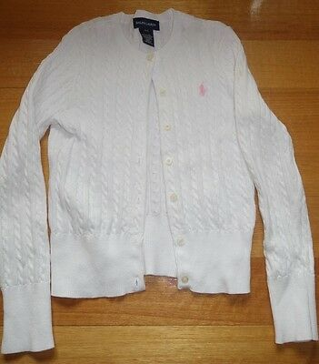 Ralph Lauren Girls Soft White Cotton Knitted Cardigan,  Size 7, Vgc
