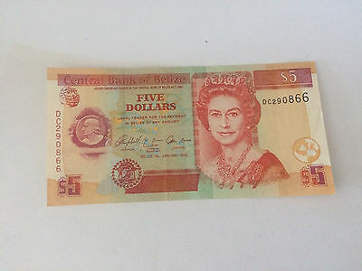 Belize Banknote 5 Dollars 2005 Circulated (Used) Free shipping