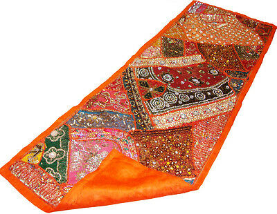 Indian Patch Work Sari Beaded Embroider Wall Hanging Table Runner Wall Tapestry