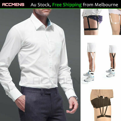 Mens Shirt Stays Holder Garters Suspenders Military Uniform Non-slip Elastic 1Pr