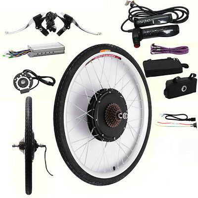"1000W Electric Bicycle Motor Conversion Kit E Bike 26"" Speed Rear Wheel Brake"