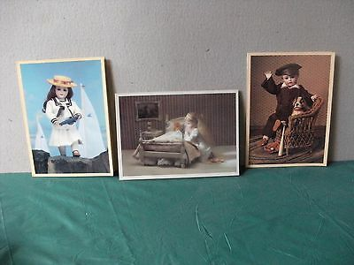 Old Cards from 1980's with porcelain doll pictures x 3