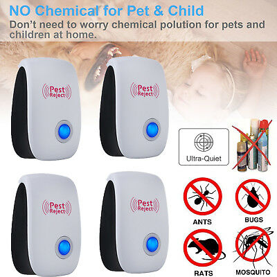 4x Electronic Ultrasonic Anti Pest Cockroach Bug Mosquito Mouse Killer Repeller