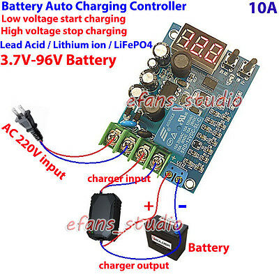 3.7V-96V 12V Automatic Battery Charger Charging Controller Protection Board LED