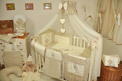 LUXURY 10pcs NURSERY BABY BEDDING SET/CANOPY/ ROD 4 BABY COT or COT BED/cotbed