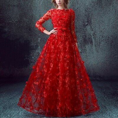 Mesh Lace Belted Formal Evening Party Long Sleeve Dress Wedding Ball Prom Gown