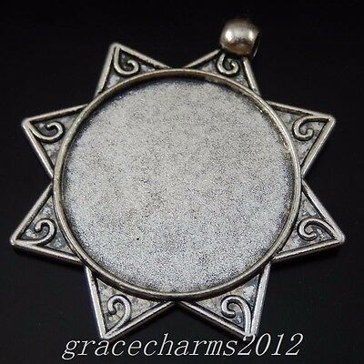 6pcs Vintage Silver Alloy Star Look Round 30mm Cameo Setting Pendants Charms